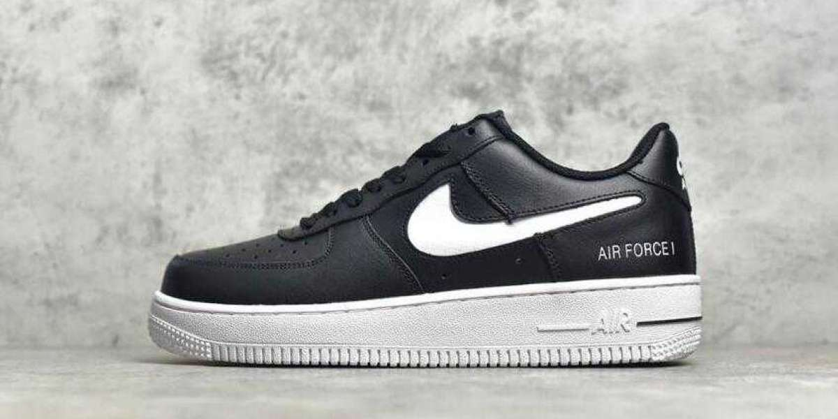Onlne Sale Nike Air Force 1 Black White Cut-Out Swoosh is Available Now